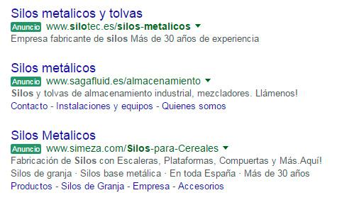 Anuncios en color verde Google AdWords