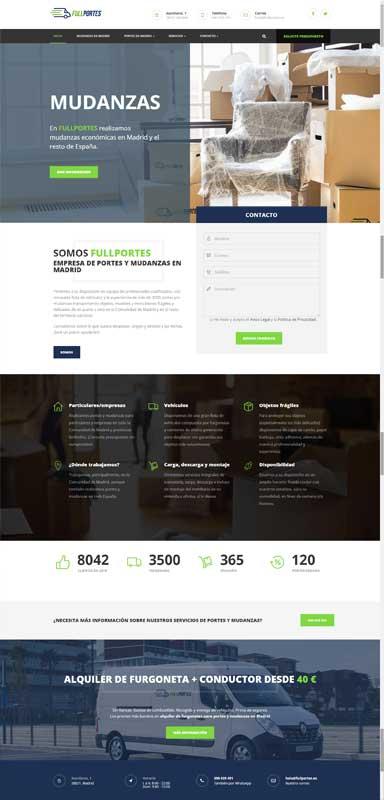 diseño web empresa portes mudanzas