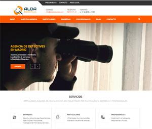 Diseño de página web para agencia de detectives Alda