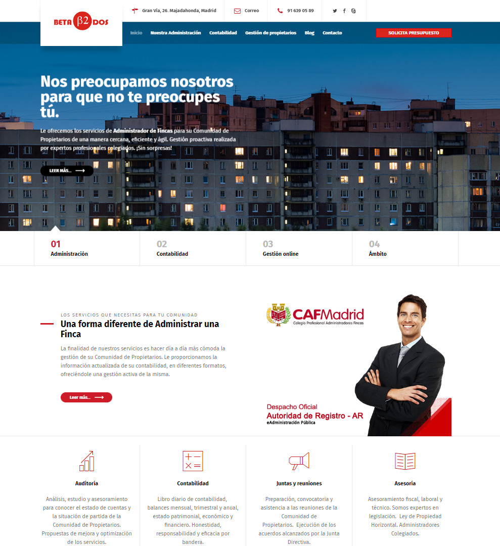 Diseño de página web para Administración de Fincas