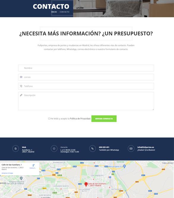 Posicionamiento de página web para empresa de portes y mudanzas